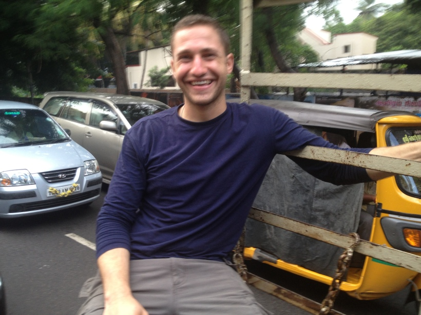 Day 2: Riding in the back of a pick-up truck in the crazy streets of Chennai, delivering donations to an orphanage, during a thunderstorm.