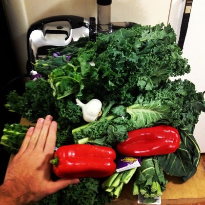 Before.__SuperBowl__juice__superbowlofjuice__greenjuice__proteinandproduce__kale__collardgreens__garlic__peppers