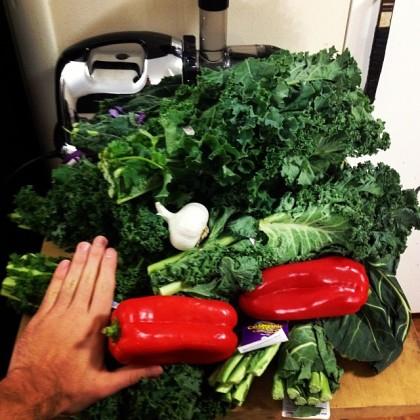 Before.__SuperBowl__juice__superbowlofjuice__greenjuice__proteinandproduce__kale__collardgreens__garlic__peppers